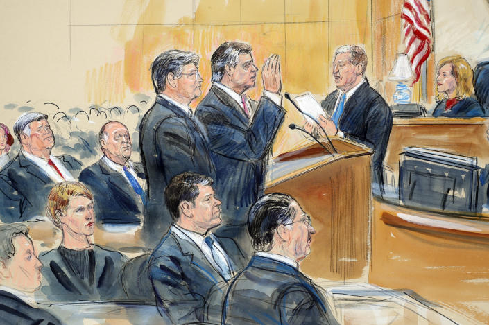 Courtroom sketch depicts former Donald Trump campaign chairman Paul Manafort, center, and his lawyer, Richard Westling, left, before U.S. District Judge Amy Berman Jackson, upper right, in federal court in Washington, Friday, as prosecutors Andrew Weissmann, bottom center, and Greg Andres watch. (Photo: Dana Verkouteren via AP)