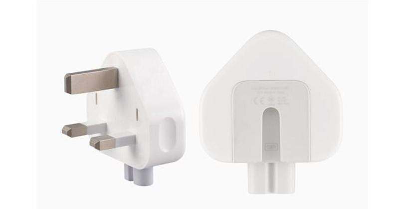 Apple's new, safe three-prong wall plug adapter: White in colour, with grey on the inside portion that attaches to the power adapter.