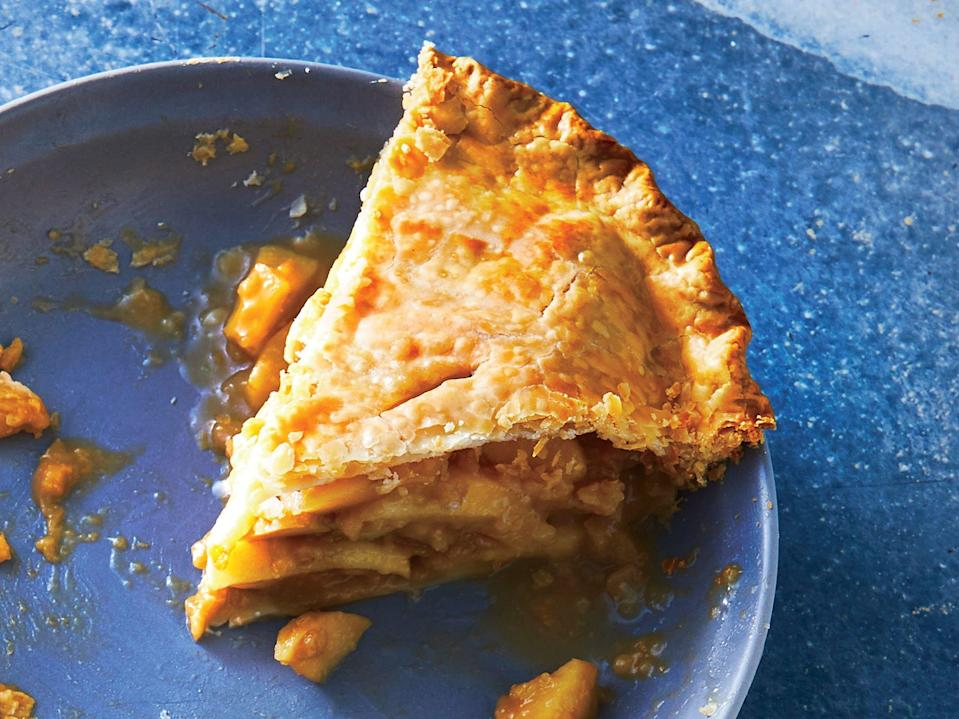 """<p>How next-level store-bought crust, smart touches of fat and flavoring, and a trio of apples fit together fabulously.</p> <p><a href=""""https://www.myrecipes.com/recipe/triple-apple-pie"""" rel=""""nofollow noopener"""" target=""""_blank"""" data-ylk=""""slk:Triple-Apple Pie Recipe"""" class=""""link rapid-noclick-resp"""">Triple-Apple Pie Recipe</a></p>"""