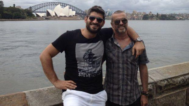 George Michael (right) with his then-boyfriend, Queensland-born Fadi Fawaz, in Sydney in 2012. Source: Twitter