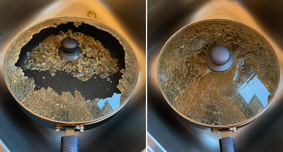 A Coles-purchased frying pan with a lid that shattered when a customer used it.