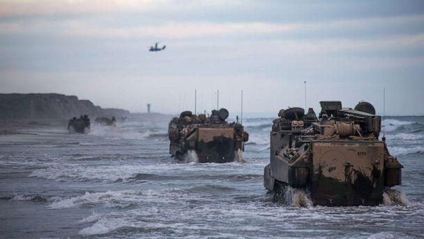 PHOTO: Marines with Bravo Company, drive AAV-P7/A1 assault amphibious vehicles through the surf during sustainment training at Marine Corps Base Camp Pendleton, Calif., July 14, 2020. (U.S. Marine Corp., FILE)