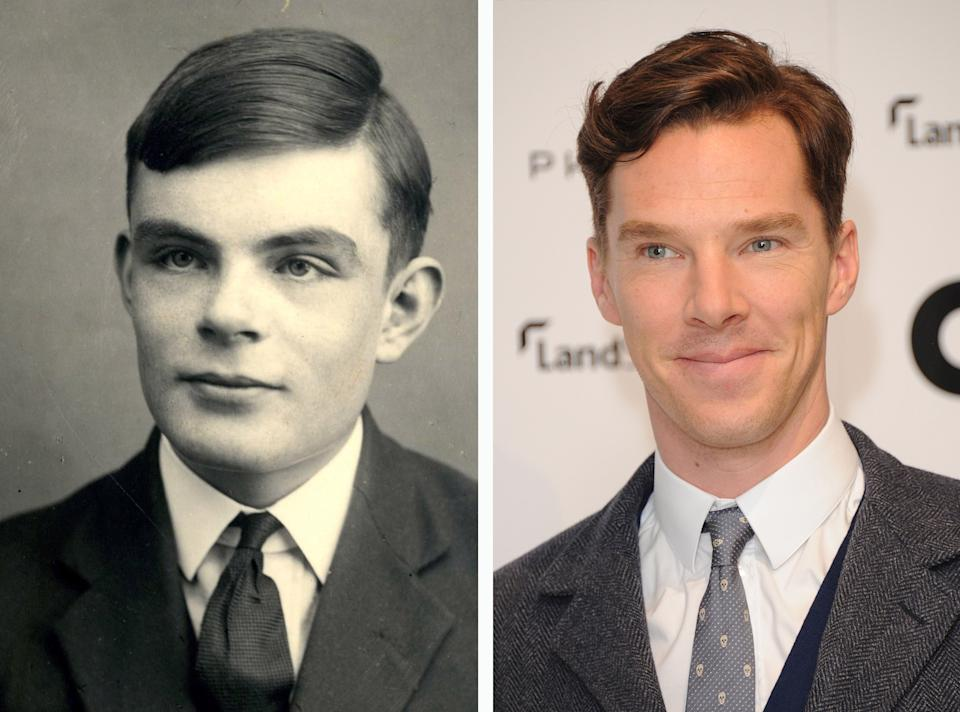 (FILE PHOTO) In this composite image a comparison has been made between Alan Turing (L) and actor Benedict Cumberbatch. Actor Benedict Cumberbatch will reportedly play Alan Turing in a film biopic 'The Imitation Game' directed by Morten Tyldum. ***LEFT IMAGE***   UNSPECIFIED:  Alan Turing (1912-1954). Private Collection. (Photo by Fine Art Images/Heritage Images/Getty Images) **RIGHT IMAGE*** LONDON, ENGLAND - NOVEMBER 12: Benedict Cumberbatch arrives for the GQ 25th Anniversary Exhibition at Phillips De Pury on November 12, 2013 in London, England. (Photo by Stuart C. Wilson/Getty Images)