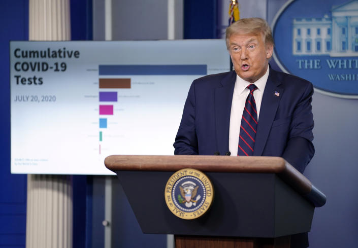 President Donald Trump speaks during a news conference at the White House, Tuesday, July 21, 2020, in Washington. (Evan Vucci/AP)