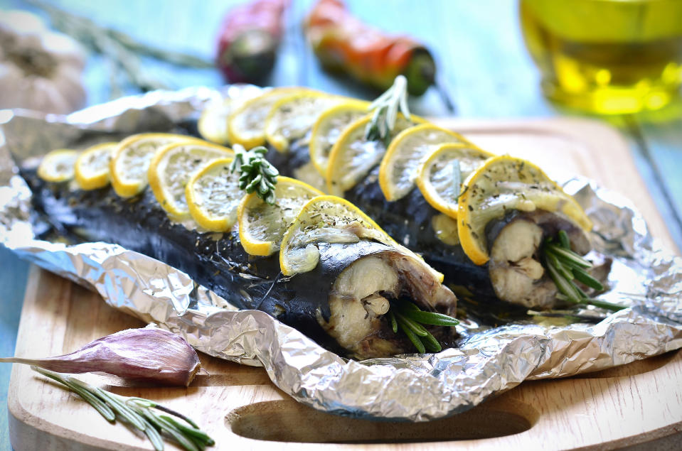 """<p>If you're looking to get away from all the game that appears in autumn, how about harking back to the summer with some baked mackerel. It's still in season and you can find some great recipes around, like <a href=""""https://www.theguardian.com/lifeandstyle/2008/sep/21/fish.recipe"""" rel=""""nofollow noopener"""" target=""""_blank"""" data-ylk=""""slk:Nigel Slater's dish"""" class=""""link rapid-noclick-resp"""">Nigel Slater's dish</a> of baked mackerel with pine nuts and rosemary. [Photo: Getty] </p>"""