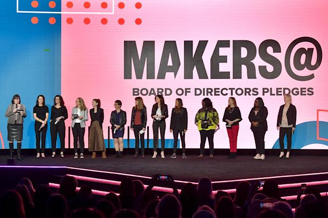 MAKERS@ Board of Directors speak onstage during the 2020 MAKERS Conference on February 11, 2020 in Los Angeles, California. (Photo by Emma McIntyre/Getty Images for MAKERS)