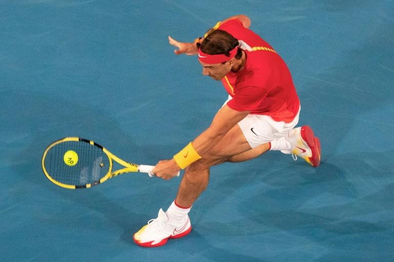 Rafael Nadal of Spain triumphed over Nikoloz Basilashvili of Georgia during their men's singles match on day two of the ATP Cup tennis tournament in Perth (AFP Photo/TONY ASHBY)