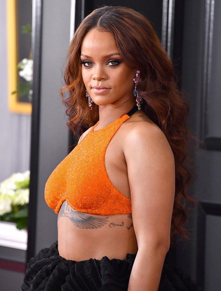 Rihanna attends The 59th GRAMMY Awards at STAPLES Center