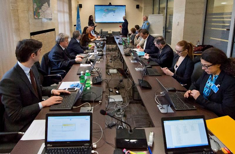 A picture provided by the United Nations on February 27, 2016 shows a general view of the operations centre which provides 24/7 communications and liaison support for the Syria Ceasefire Taskforce at the United Nations Office in Geneva (AFP Photo/Jean-Marc Ferre)
