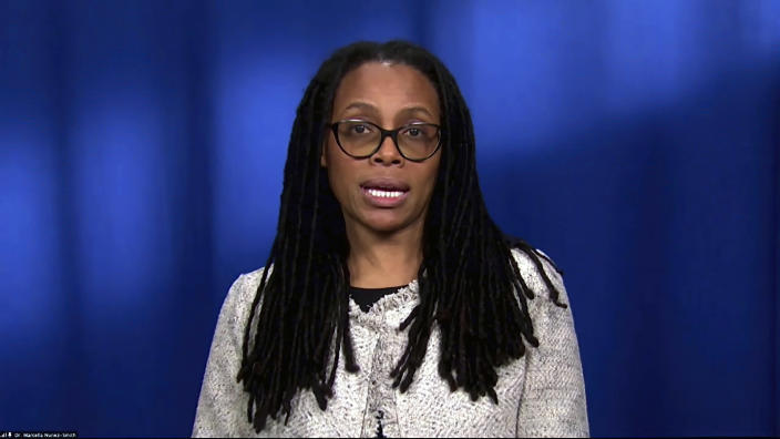 In this image from video, Dr. Marcella Nunez-Smith, the chair of the COVID-19 health equity task force, speaks during a White House briefing on the Biden administration's response to the COVID-19 pandemic Wednesday, Jan. 27, 2021, in Washington. (White House via AP)