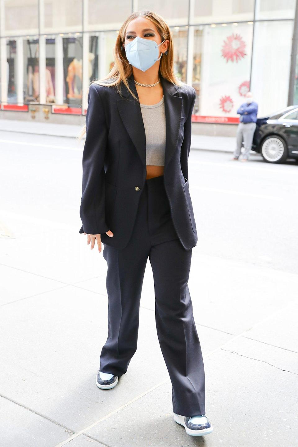 <p>Addison Rae gets all dressed up on Friday for a visit to <em>The Tonight Show </em>studios in N.Y.C.</p>