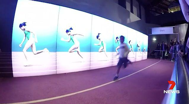The exhibit invites visitors to test their speed against a virtual Cathy Freeman. Photo: 7 News