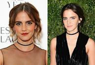"""<p>A surprising departure from her signature honey brown tresses, the """"Beauty and the Beast"""" starlet debuted noticeably darker, mahogany locks at the MoMA Film Benefit in November. <i> (Photos: Getty Images/November 2016) </i> </p>"""