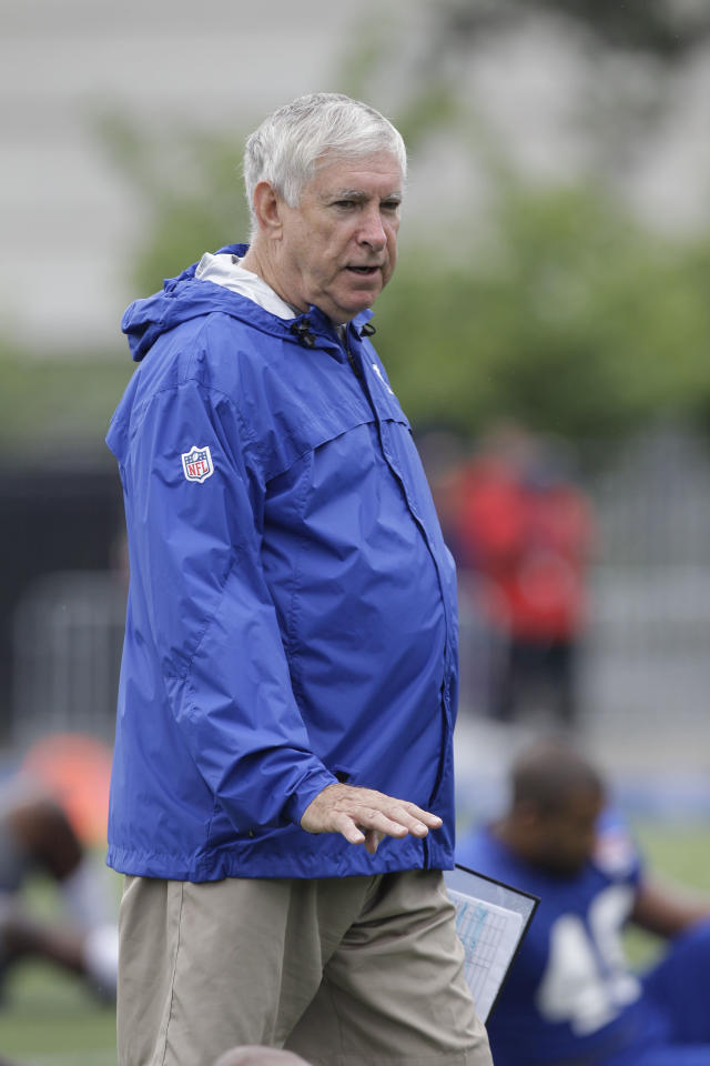 New York Giants tight ends coach Mike Pope gestures during a practice at the New York Giants NFL football training camp in Albany, N.Y., Saturday, July 28, 2012. (AP Photo/Kathy Willens)