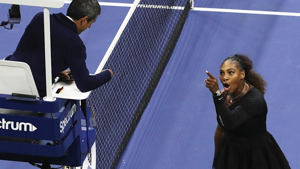 Serena Williams, pictured here arguing with Carlos Ramos.