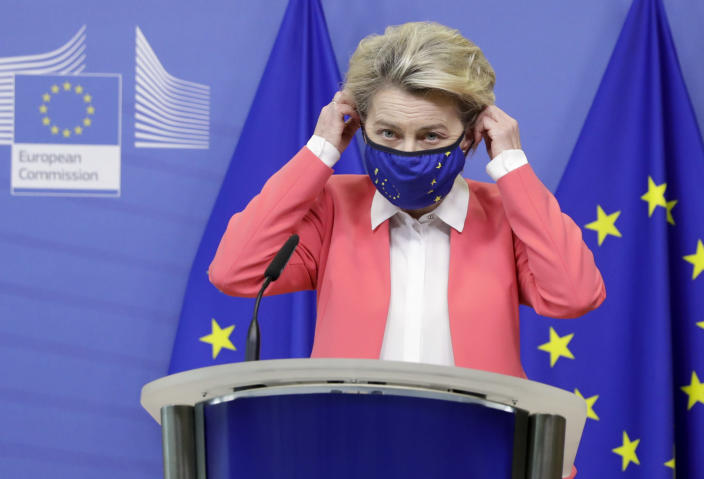 European Commission President Ursula von der Leyen arrives to deliver a statement at the EU headquarters in Brussels, Sunday, Dec. 13, 2020. Britain and the European Union say talks will continue on a free trade agreement — a deal that if sealed would avert New Year's chaos for cross-border traders and bring a measure of certainty for businesses after years of Brexit turmoil. (Olivier Hoslet/Pool Photo via AP)