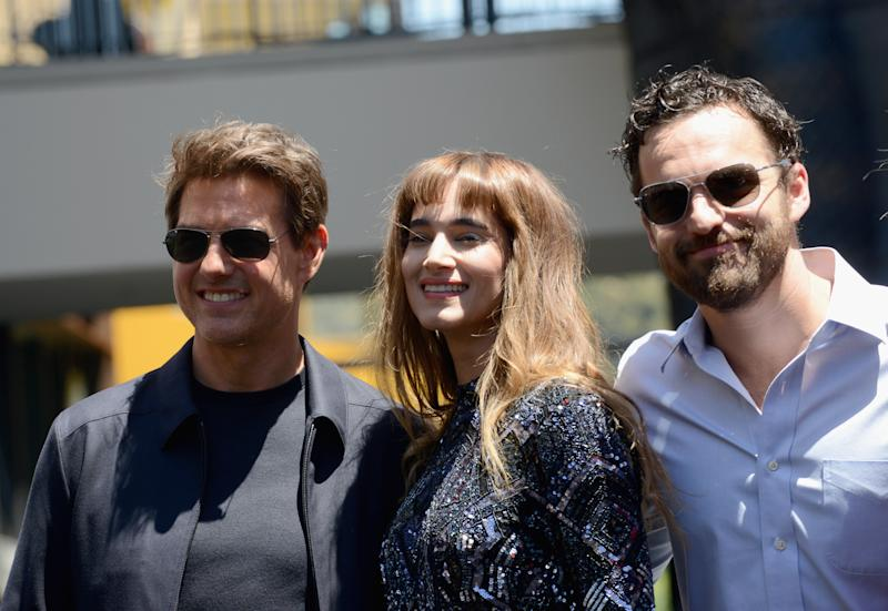 "HOLLYWOOD, CA - MAY 20: Actors Tom Cruise, Sofia Boutella and Jake Johnson attend the Universal Celebration of ""The Mummy Day"" With a 75-Foot Sarcophagus Takeover At Hollywood And Highland held at Hollywood & Highland on May 20, 2017 in Hollywood, California. (Photo by Albert L. Ortega/Getty Images)"