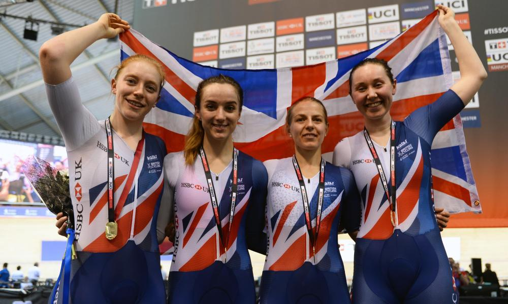Katie Archibald, right, celebrates team pursuit victory with team-mates Emily Nelson, Elinor Barker and Neah Evans.
