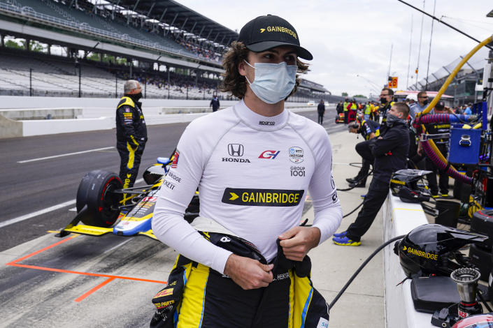 Colton Herta prepares to drive during the final practice for the Indianapolis 500 auto race at Indianapolis Motor Speedway in Indianapolis, Friday, May 28, 2021. (AP Photo/Michael Conroy)