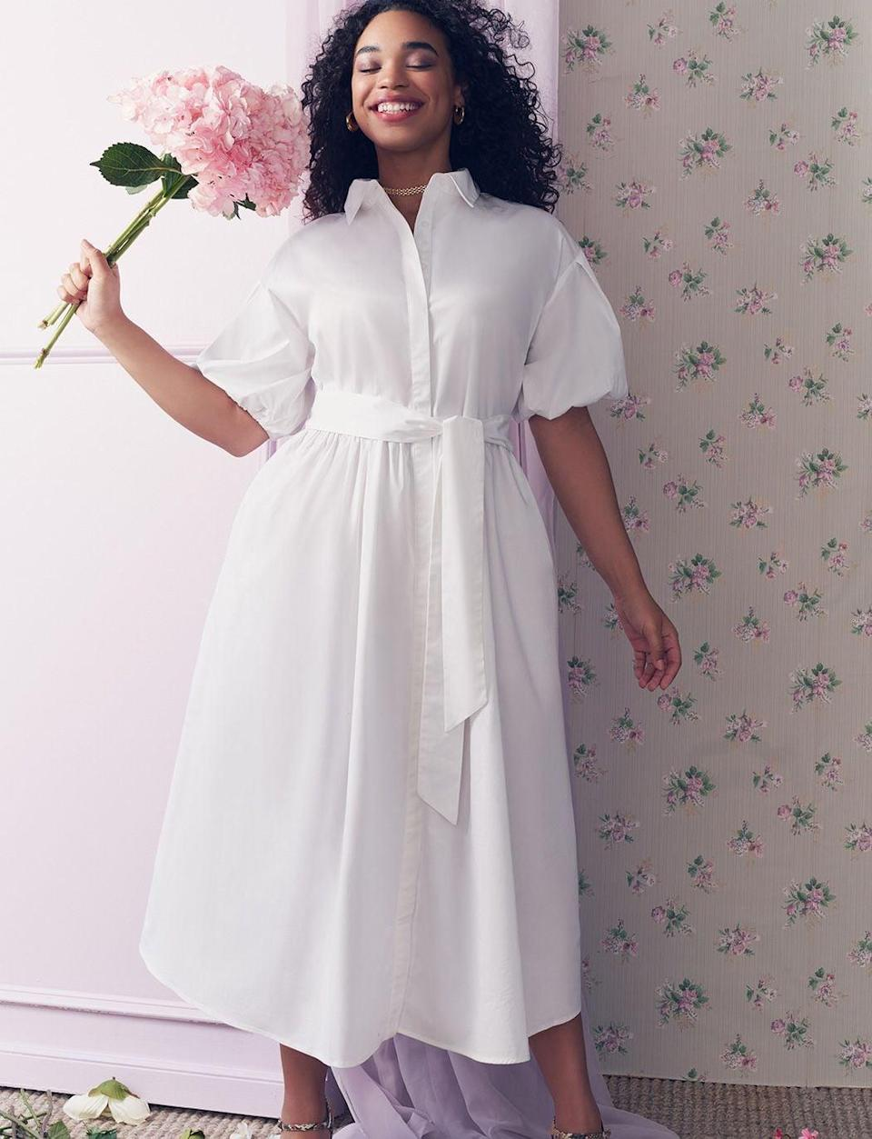 <p>This <span>Eloquii Puff Sleeve Button Down Dress</span> ($140) has adorable puff sleeves and a flattering tie at the waist. If you want a longer dress, this is a great choice.</p>