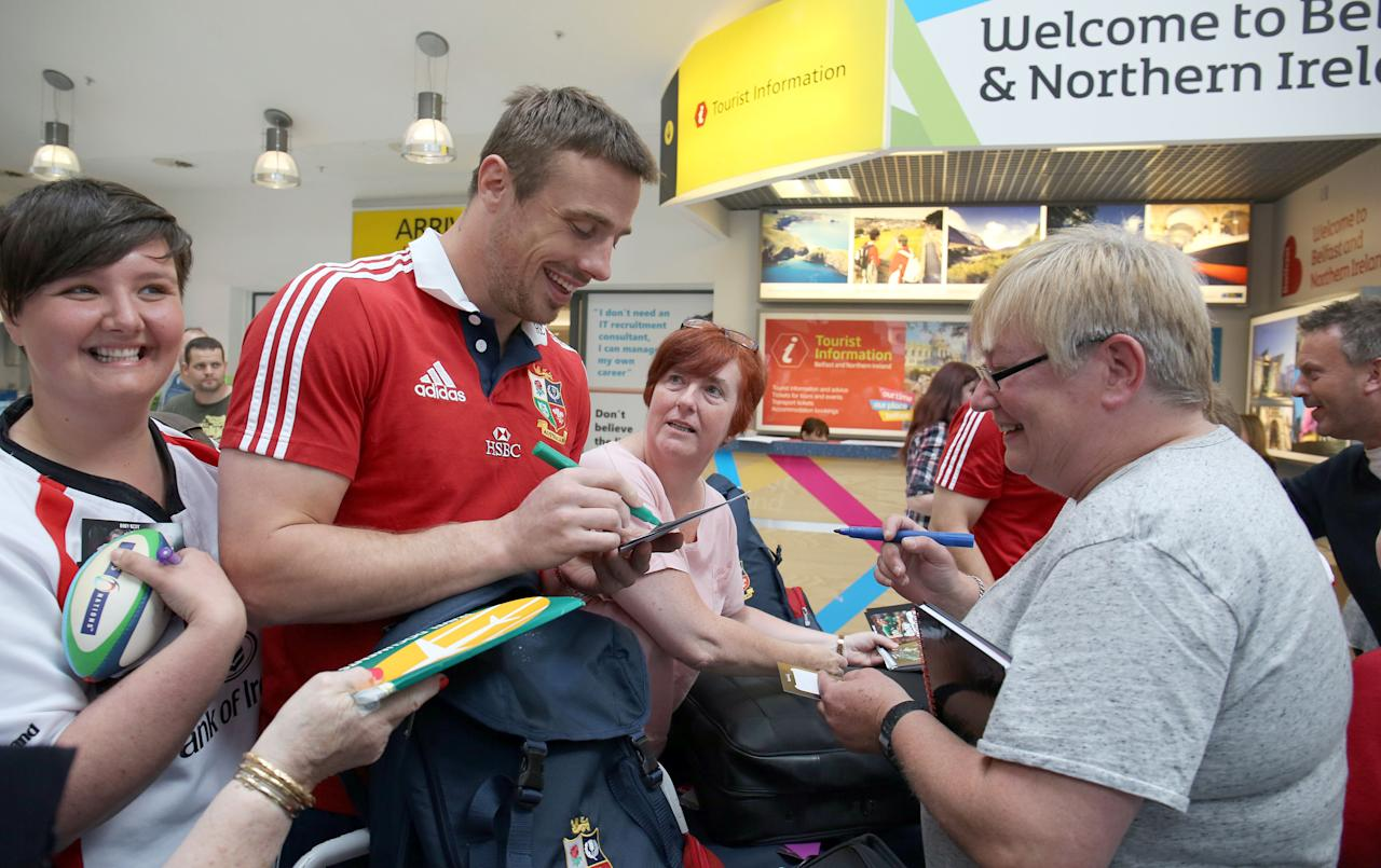 British and Irish Lions' Tommy Bowe at George Best Belfast City airport following their series win over Australia. ASSOCIATION Photo. Picture date: Wednesday July 10, 2013. See PA story RUGBYU Lions. Photo credit should read: Paul Faith/PA Wire.