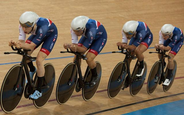 <span>The Great Britain men's team pursuit quartet missed out on a medal after finishing fourth on the second day of the Track Cycling World Championships in Hong Kong</span> <span>Credit:  EPA </span>