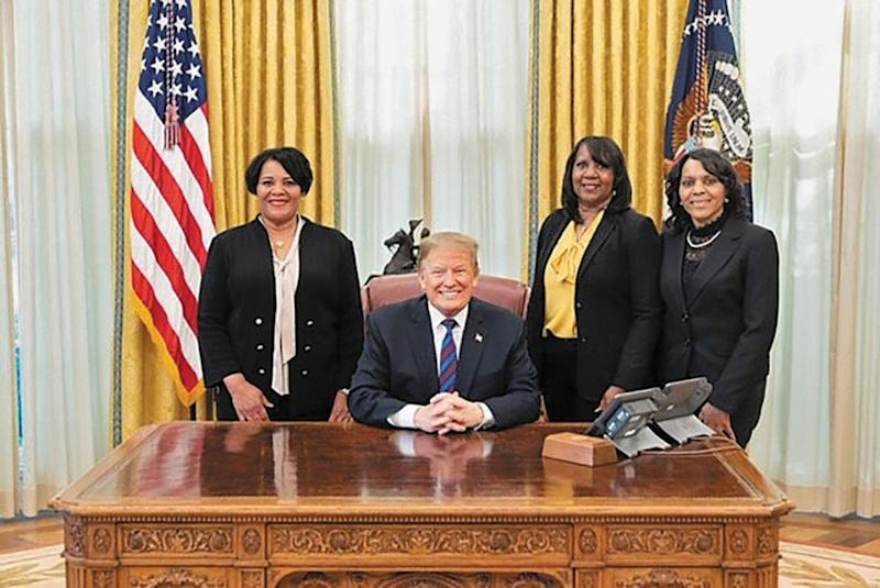 Johnson and her sisters, Patricia and Dolores, visit President Donald Trump in the Oval Office | Official White House photo by Shealah Craighead