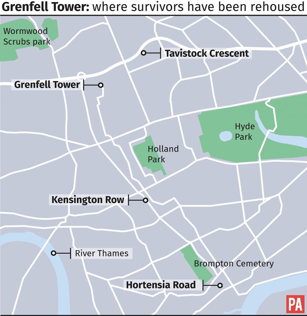 Where survivors of the Grenfell Tower fire have been rehoused (PA Graphics)