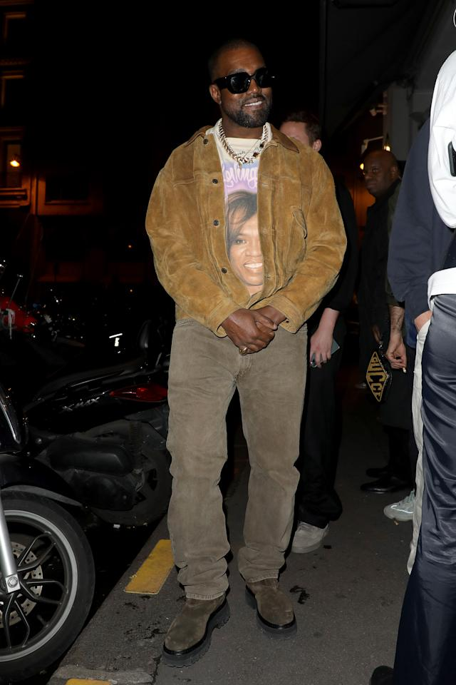 <p>WHERE: Leaving the Yeezy show during Paris Fashion Week</p> <p>WHEN: March 2, 2020</p> <p>WHY: Here's to super-sized accessories and super-soft suede.</p>