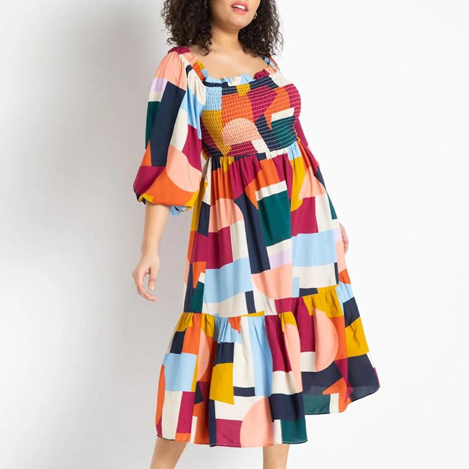 """From the smocked bodice to the puff sleeves and the eye-catching print, we love everything about this statement piece. $130, Eloquii. <a href=""""https://www.eloquii.com/off-the-shoulder-smocked-bodice-dress/1237729.html?"""" rel=""""nofollow noopener"""" target=""""_blank"""" data-ylk=""""slk:Get it now!"""" class=""""link rapid-noclick-resp"""">Get it now!</a>"""