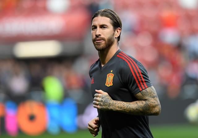 Soccer Football - Euro 2020 Qualifier - Group F - Spain v Faroe Islands - El Molinon, Gijon, Spain - September 8, 2019 Spain's Sergio Ramos during the warm up before the match REUTERS/Eloy Alonso