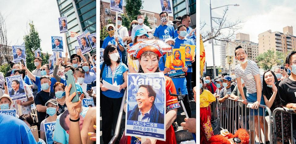 Supporters hold a rally for Yang in Flushing, Queens.