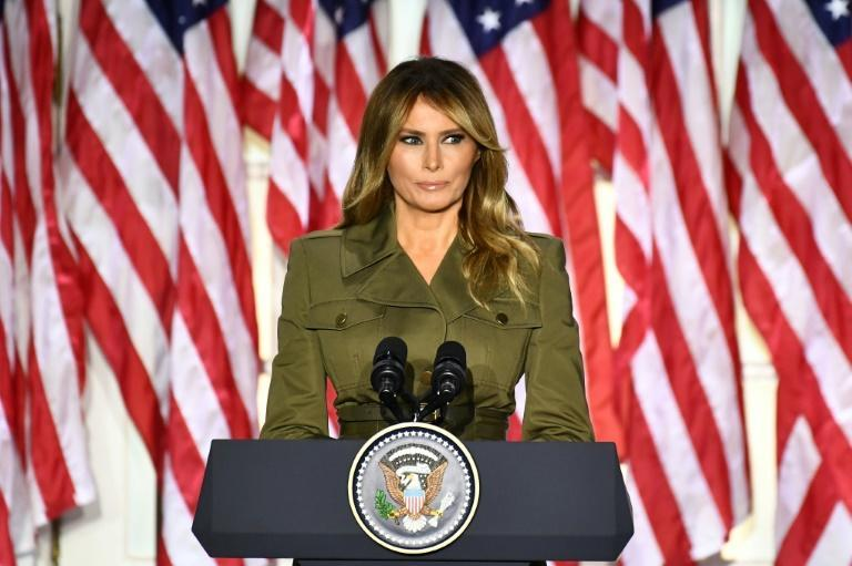 First Lady Melania Trump, shown here addressing the 2020 Republican Convention during its second day, became the subject of a Twitter debate after a conservative compared her to Cardi B