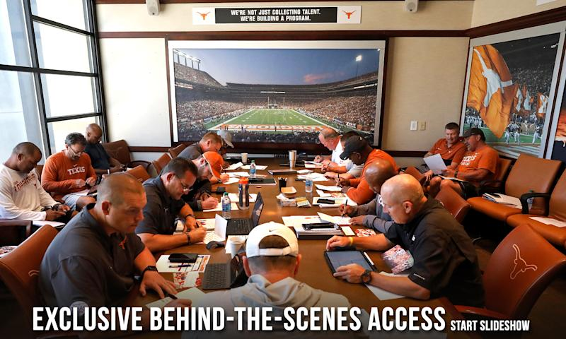 Texas Longhorns head coach Tom Herman (center with back to camera) leads a meeting Wednesday Sept. 4, 2019 in Austin, Tx. ( Photo by Edward A. Ornelas )