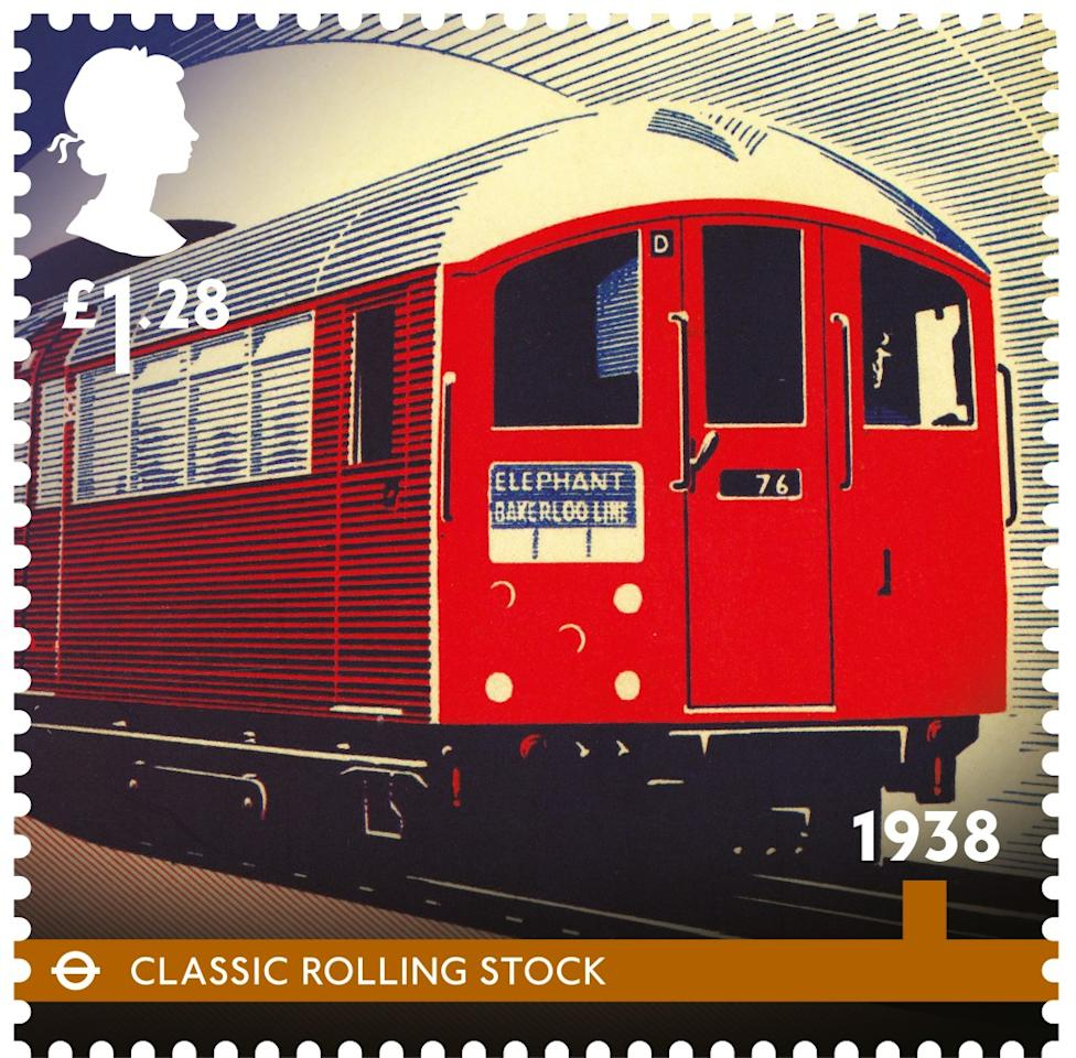 A Classic Rolling Stock, the classic underground train, was introduced in 1938 (Royal Mail)
