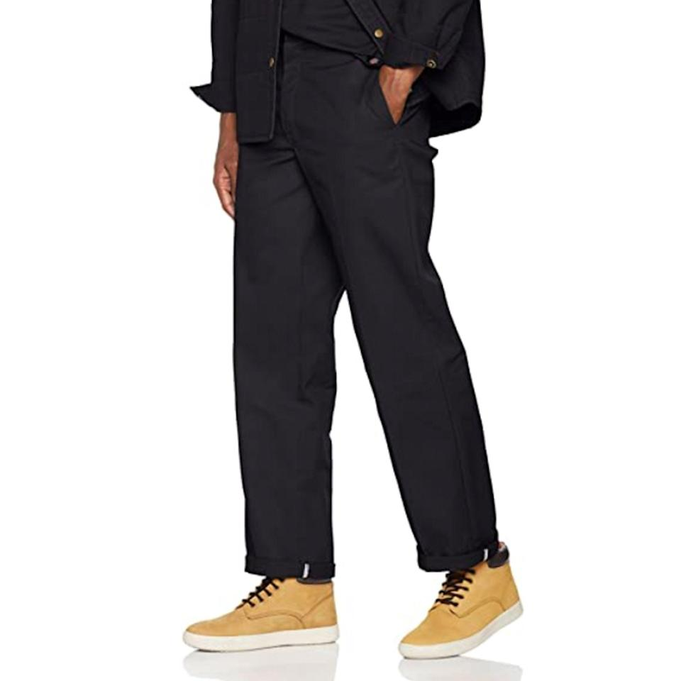 """<p><strong>Dickies</strong></p><p>amazon.com</p><p><strong>$24.99</strong></p><p><a href=""""https://www.amazon.com/dp/B0000WLSCW?tag=syn-yahoo-20&ascsubtag=%5Bartid%7C10054.g.34481068%5Bsrc%7Cyahoo-us"""" rel=""""nofollow noopener"""" target=""""_blank"""" data-ylk=""""slk:Buy"""" class=""""link rapid-noclick-resp"""">Buy</a></p><p>As classic—and affordable—as they come.</p>"""