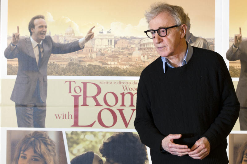 """Director and actor Woody Allen poses during a photo call for the movie """"To Rome with Love"""", in Rome, Friday, April 13, 2012. (AP Photo/Andrew Medichini)"""