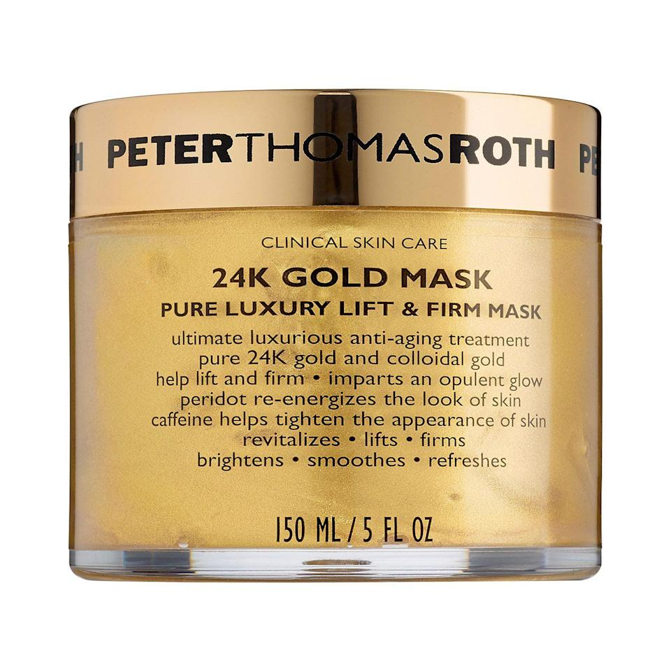 """<p><strong>Peter Thomas Roth</strong></p><p>sephora.com</p><p><strong>$85.00</strong></p><p><a href=""""https://go.redirectingat.com?id=74968X1596630&url=https%3A%2F%2Fwww.sephora.com%2Fproduct%2F24k-gold-mask-pure-luxury-lift-firm-mask-P392607&sref=https%3A%2F%2Fwww.seventeen.com%2Flife%2Ffriends-family%2Fg722%2Fbest-holiday-gifts-for-mom%2F"""" rel=""""nofollow noopener"""" target=""""_blank"""" data-ylk=""""slk:Shop Now"""" class=""""link rapid-noclick-resp"""">Shop Now</a></p><p>This hydration-packed, 24k gold face mask is like a hug for your face.</p>"""