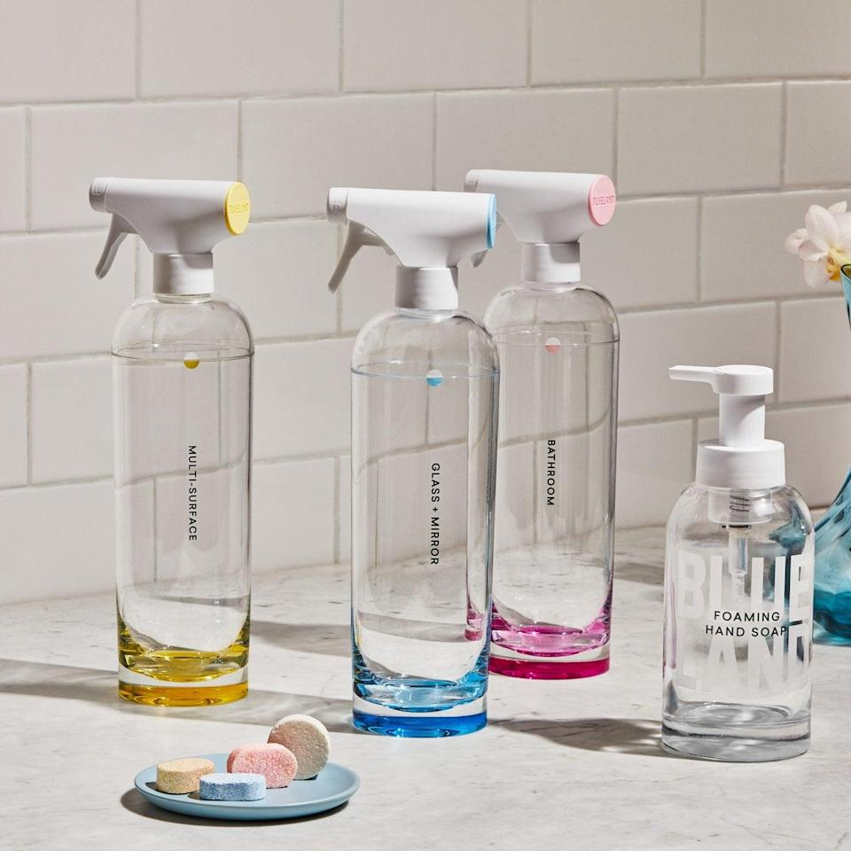 """<h2>Blueland Clean Essentials</h2><br>Who knew reusable cleaning bottles could be so satisfying to look at — the perfect gift for your favorite domestic friend.<br><br><strong>Blueland</strong> The Clean Essentials, $, available at <a href=""""https://go.skimresources.com/?id=30283X879131&url=https%3A%2F%2Fwww.blueland.com%2Fproducts%2Fthe-clean-essentials"""" rel=""""nofollow noopener"""" target=""""_blank"""" data-ylk=""""slk:Blueland"""" class=""""link rapid-noclick-resp"""">Blueland</a>"""