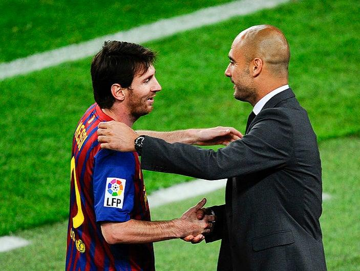 <p>Lionel Messi with Pep Guardiola in 2012</p>Getty