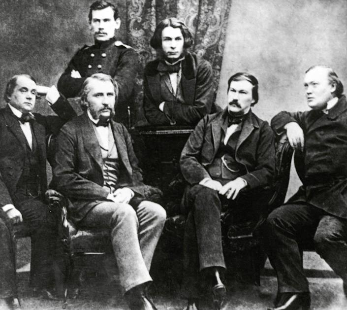 An 1856 photo of famous Russian authors, including Turgenev and Tolstoy.
