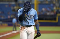 Tampa Bay Rays' Wander Franco reacts after striking out againt Boston Red Sox relief pitcher Yacksel Rios during the fourth inning of a baseball game Wednesday, June 23, 2021, in St. Petersburg, Fla. (AP Photo/Chris O'Meara)