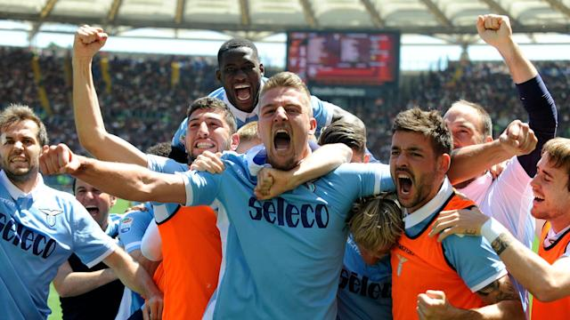 Balde Keita hit a brace as Lazio won 3-1 at Roma in the Rome derby to move Juventus a step closer to the Serie A title on Sunday.