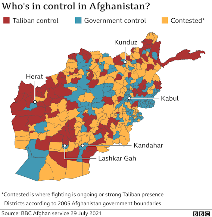 Map showing areas of full Taliban or government control, updated 29 July 2021