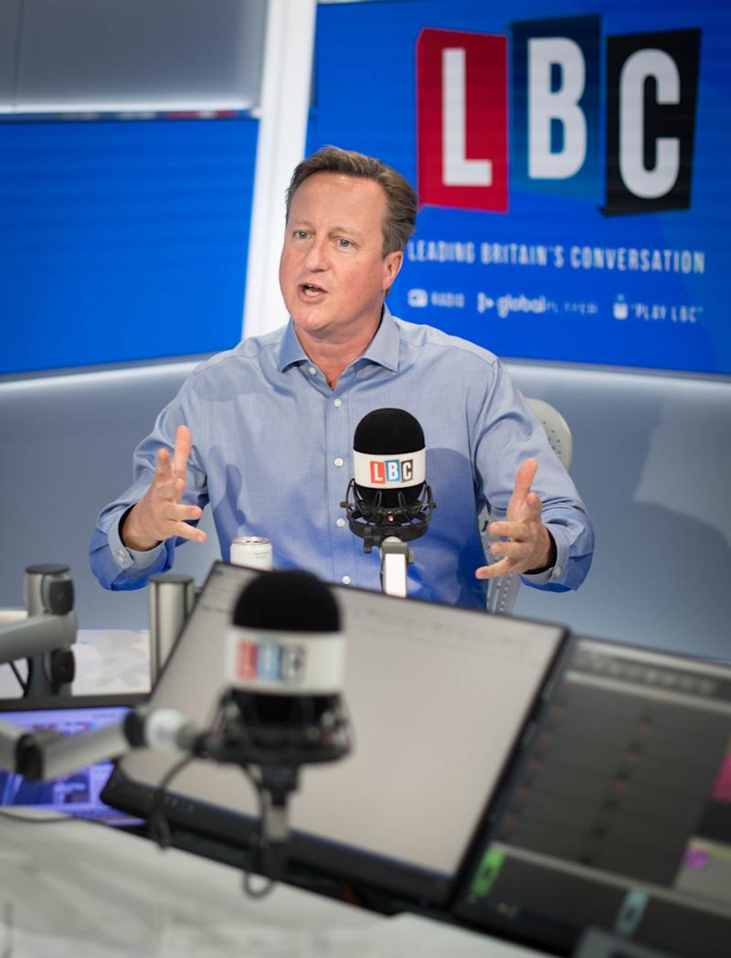 Former prime minister David Cameron during an interview with presenter Nick Ferrari in the LBC studios at Global Radio in Leicester Square, London. The interview is set for broadcast on Thursday.