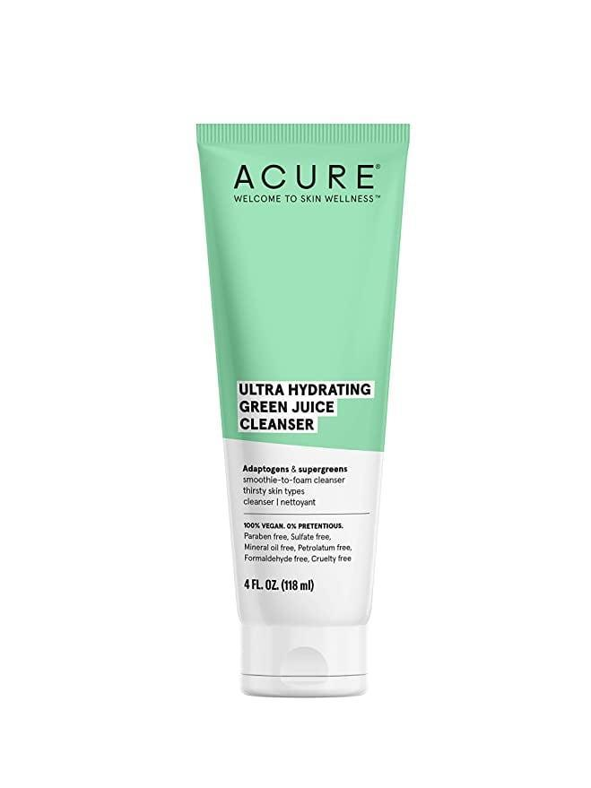 <p>A blend of kale, spinach, and spirulina in the <span>Acure Ultra Hydrating Green Juice Cleanser</span> ($13) leaves skin feeling clean and refreshed without stripping it of essential moisture. </p>