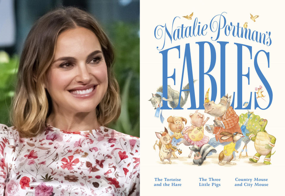 """Natalie Portman participates in the BUILD Speaker Series to discuss the film """"Lucy in the Sky"""" in New York on Oct. 2, 2019, left, and the cover of """"Natalie Portman's Fables,"""" a book of popular children's fables with a friendlier, more gender inclusive twist. (AP Photo, left, Feiwel & Friends via AP)"""