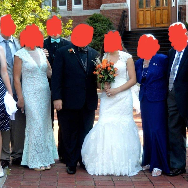 Mother in law and bride both wear lace wedding dress on wedding day, wedding shaming facebook