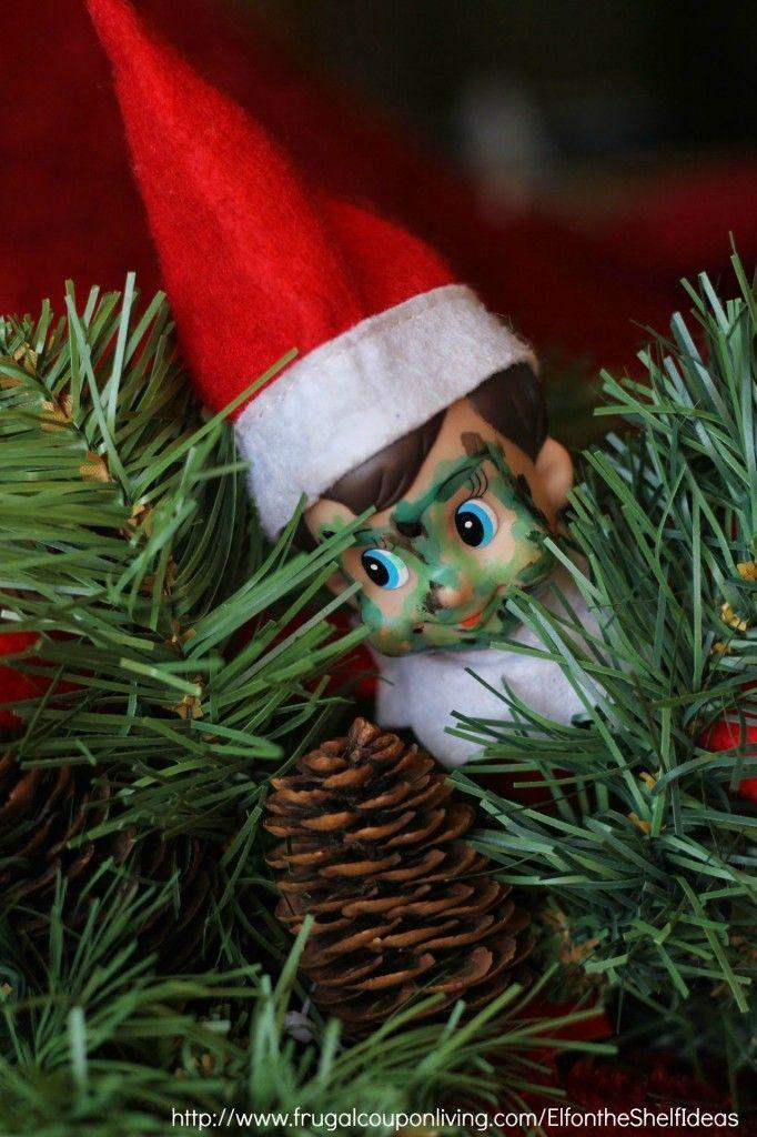 """<p>A dry-erase marker makes for the perfect camouflage makeup; it'll take an extra minute to find him hiding in the Christmas tree. </p><p> <a href=""""http://www.frugalcouponliving.com/2014/11/16/elf-shelf-ideas-elf-camo-christmas-tree/"""" rel=""""nofollow noopener"""" target=""""_blank"""" data-ylk=""""slk:See more at Frugal Coupon Living »"""" class=""""link rapid-noclick-resp""""><em>See more at Frugal Coupon Living »</em></a> </p>"""