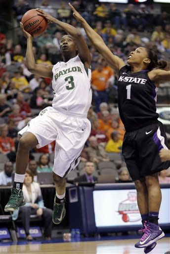 Baylor Jordan Madden (3) shoots against Kansas State guard Haley Texada (1) during the first half of an NCAA college basketball game in the Big 12 Conference tournament Saturday March 9, 2013, in Dallas. (AP Photo/LM Otero)